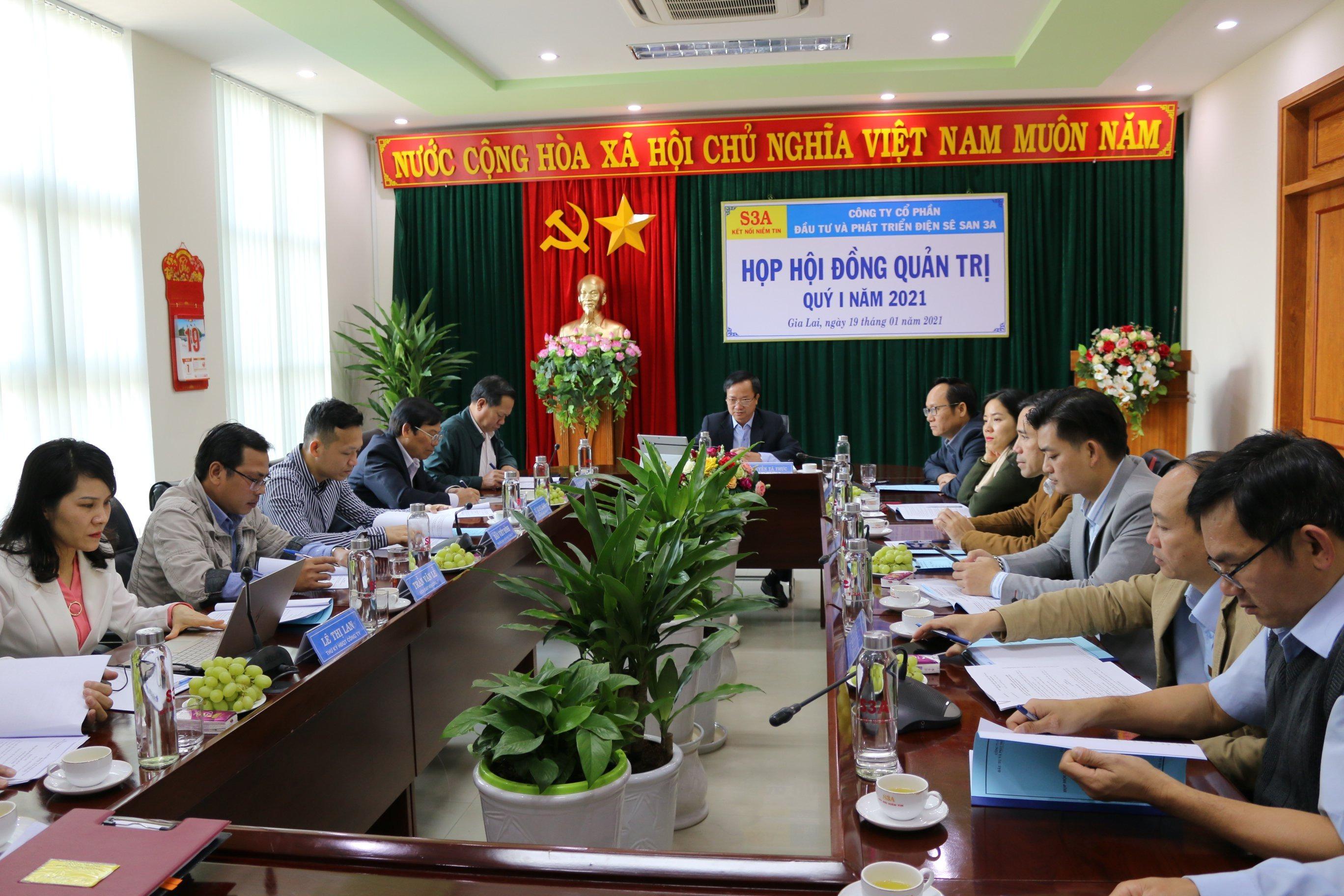 Sê San 3A họp Hội đồng quản trị quý I/2021
